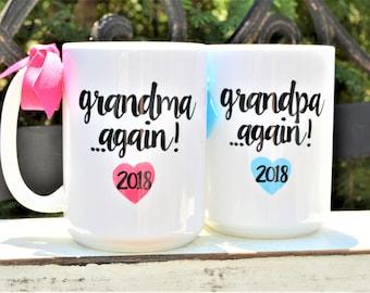 New GRANDMA or GRANDPA AGAIN Mugs, Est. Year & Hearts, Cute Pregnancy Announcement or New Grandparent Gift