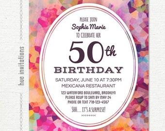 modern 50th birthday party invitation, adult birthday party invitation, watercolor birthday invite, purple violet pink printable 5x7 740