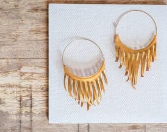 Large Earrings, Hoop Earrings, Goldfilled Earrings, Paper Art Jerwelry, Art Earrings, Bohemian Earrings, Tribal Earrings, Ethnic Earrings