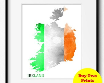 Republic of Ireland Watercolor Flag Map Art Print (190) Eire Flag Map