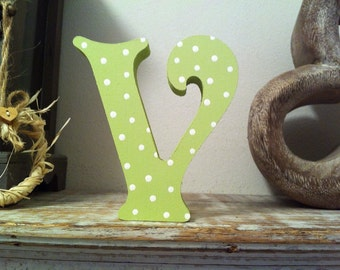 Freestanding Wooden Letter 'V' - Victorian Style - 25cm, Various Colours & Finishes