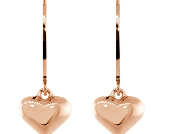 Dangling Puffed Heart Charm Earrings in 14K Pink, Rose Gold