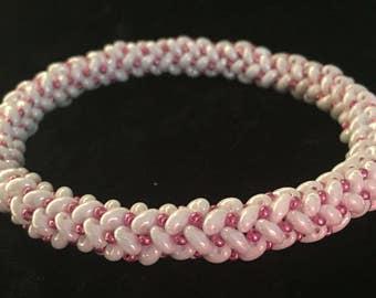 Herringbone Variation Woven Glass Bead Bangle Bracelet