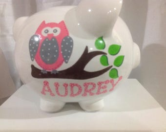 Personalized Large Pink, Grey Owl Piggy  Bank-Newborns , Girls , Baby Shower, Flower Girl, Gift Centerpiece