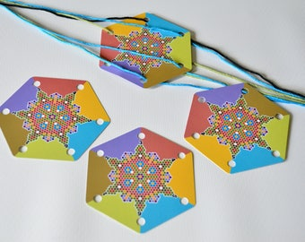 Pixel Flower Hex Cards Set of 24 Cards Original Design for Card Tablet Weaving 6 Holes Hexagon Double Sided Colorful Cardstock UV Coated