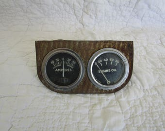 Vintage Amperes and Engine Oil Meters by Rochester MFG