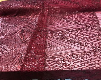 4 Way Stretch Fabric - Burgundy Geometric Power Mesh Sequins Fashion By The Yard