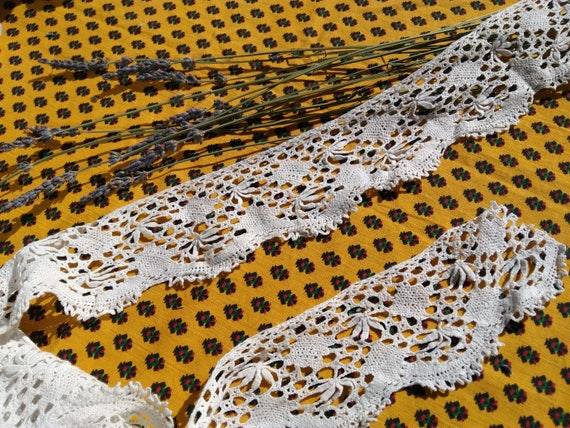 3 yards + Victorian Home Decor Crocheted Lace Long White Cotton French Shelf Edging Home Decor Lace #sophieladydeparis
