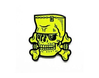 """Frankenstein Enamel Pin - 1.5"""" Glow-in-the-Dark, Monster Skull Horror Lapel Pin"""