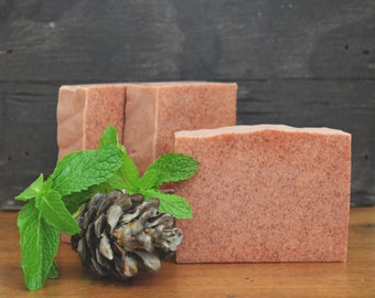 Earth Soap | Sandalwood + Peppermint Scented Body Wash Bar, Vegan, Handmade, Artisan, With A Homemade Organic Rosehip Powder Infusion, Gift