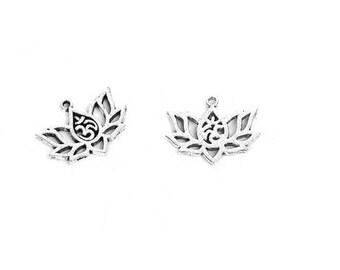 silver charms lotus flower pendant. Lotus flower connectors.