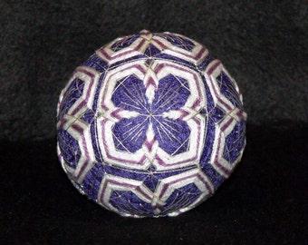 "5-1/4"" Diameter ""Winter Pine"" Japanese Temari Ball-Hand Stitched-String Art-Japanese String Ball-Home Decor-Designed Ball-OFG Team"