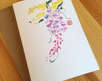 Chinese Brush Watercolor Wisteria Note Cards - Wisteria Note Cards - Watercolor Floral Note Cards - Chinese Wisteria Cards - Box Set of 6