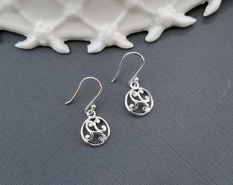 Scroll Earrings, Sterling Silver Scroll Earrings, Round Sterling Silver Earrings, Silver Scroll Earrings, Swirl Earrings, Filigree Earrings