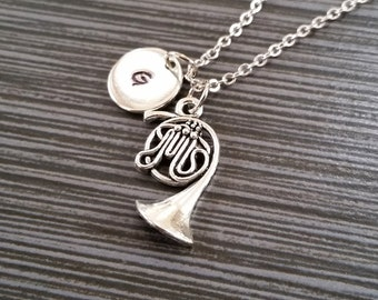 Silver French Horn Necklace - Band Student Necklace - Personalized Necklace - Custom Gift - Initial Necklace - Musical Instrument Jewelry