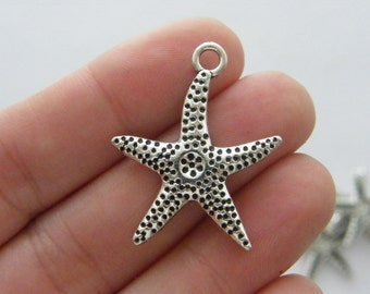 6 Starfish charms antique silver tone FF315