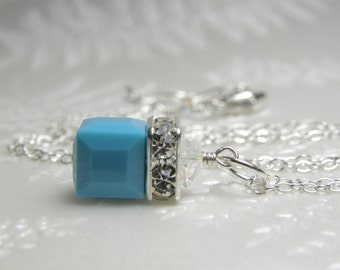 Turquoise Necklace, Swarovski Crystal Cube Pendant Teal Blue, Sterling Silver, Bridesmaid Wedding Jewelry, December Birthday Birthstone Gift