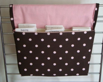 20% OFF Coupon Organizer / Budget Organizer Holder - Attaches To Your Shopping Cart/ Brown with Pink Dots