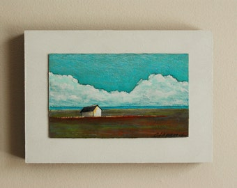 Original art on wood, 5x7 inches, landscape painting with white barn, blue sky and white cloud image, green & red field, countryside scenery