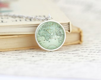 Map Necklace - Gift For Traveler - Map Jewelry - Travels Adventures - Gift For Traveler - Silver Map Necklace - Map Print Pendant