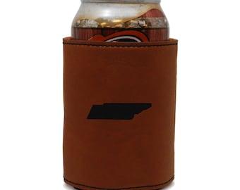 Tennessee Leather Can Sleeve, Beer Sleeve, Beer Cooler, Beer Hugger