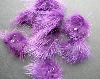 2 balls of fur purple rondelle with eye ± 25mm