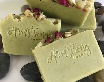 CACTUS FLOWER SOAP-Coillodial Oatmeal-Wheat Grass-and Honey Soap-Beautifully Fragranced, Light and Delicate
