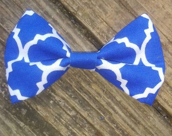 3 inch Blue & White Fabric Hairbow