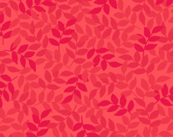 Harmony Blender Fabric - Leaf Fabric by Quilting Treasures 24777 CR Geranium - Priced by the 1/2 yard