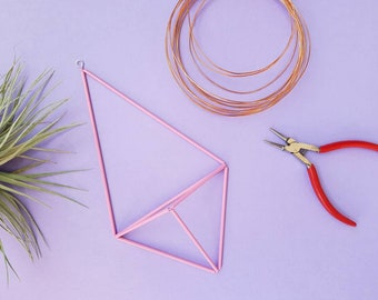 Pink Himmeli air plant holder | geometric decor [with or without airplant tillandsia] wire planter