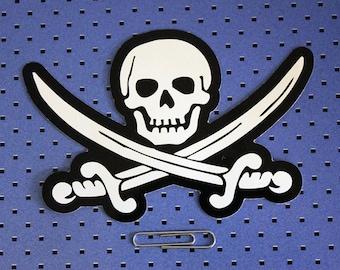 Jolly Roger Skull And Crossbones Die Cut  Bumper Sticker