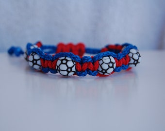 Royal Blue Red Soccer Bracelet  - More cord colors and sports theme options available