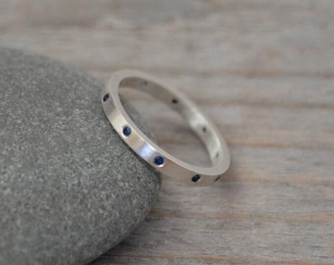 Sapphire Eternity Ring, Sapphire Anniversary Ring, Sapphire Wedding Band