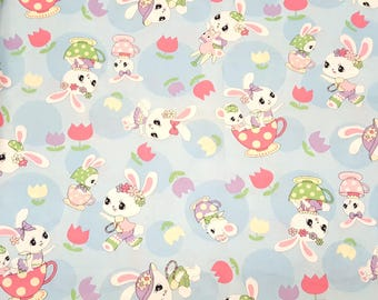 Honey Tune fabric in blue by Lecien, children fabric, nursery fabric, cute rabbit, made in Japan