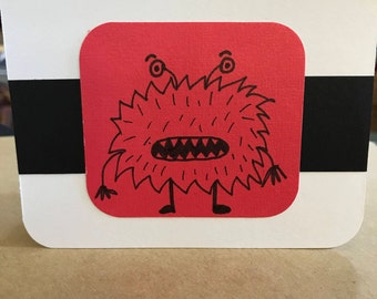 Set of 6 Black and White monster Notecards