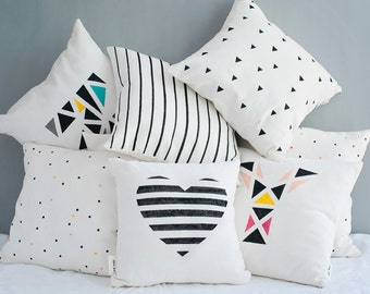 Geometric Heart Cushion Cover, Personalized Throw Pillow, Modern Decorative Pillow in Black and White, 16x16 inch