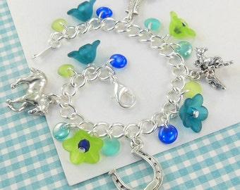 Girls Horse Charm Bracelet in Greens  --  Jessica  --