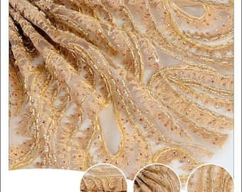 golden high end hand beaded embroidery fabric