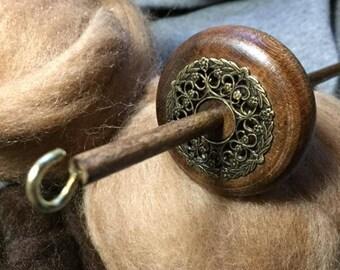 "12"" #2 Ornate Brass Filigree Drop Spindle Top Whorl Walnut Finish Yarn Wool Roving"