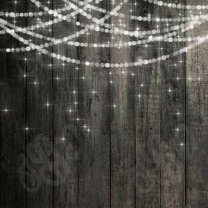 Bokeh String Lights Rustic Wood & Chalkboard Digital Photography Backdrop - Bunting lights wood chalkboard pattern digital papers 12 x 12