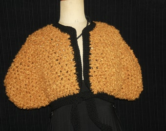 Bolero or a shoulder warmer mustard and black (special price until closing)