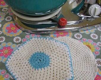 2 Vintage Crocheted Potholders  Turquoise & White Cotton 1940s Pot Holders