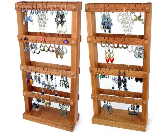 Jewelry Organizer Cherry Wood Earring holder Stand