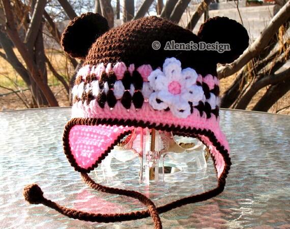Crochet Hat Pattern - Crochet Pattern 001 - Hat Crochet Pattern - Hat with Bear Ears Ear Flap Hat Flower Baby Girls Toddler Children Winter