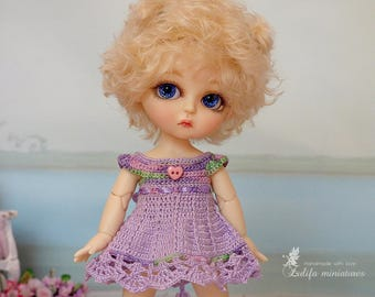"Pukifee\Lati Yellow\Irrealdoll Lilac dress Outfit ""Lilac in bloom"" dress for bjd dolls format tiny PukiFee/Aquarius/Lati Yellow bjd clothes"