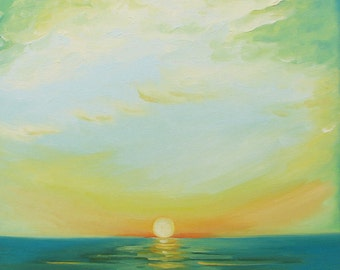 """Giclee reproduction on 8 1/2"""" x 11"""" fine art paper by Daina Scarola - Ocean Mist (ocean, sunset, seascape, green flash) free shipping"""