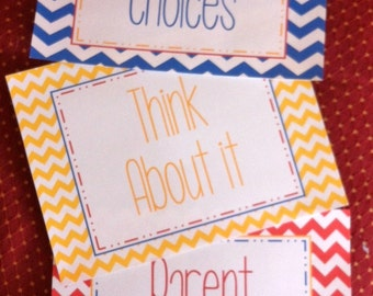 Teacher Classroom Behavior Chart Printable Chevron Sign