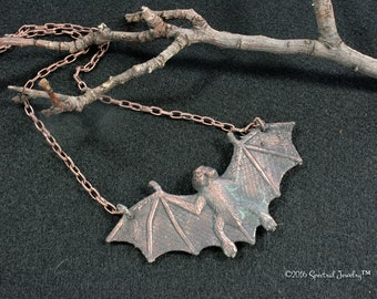 Copper Bat Necklace | Electroformed Pendant | Detailed Bat | Large Bat | Goth Jewelry | Unisex Necklace |  Gift For Her