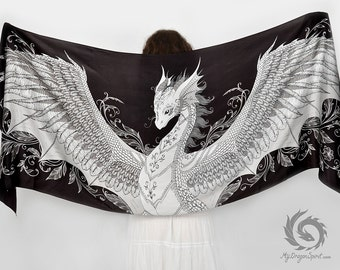 Black silk scarf with a white phoenix dragon - Fantasy art, Feathered dragon wings, Magical guardian, Fairy tale wedding, Mystical creature