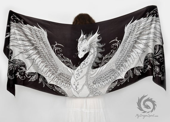 Black silk scarf with a white phoenix dragon